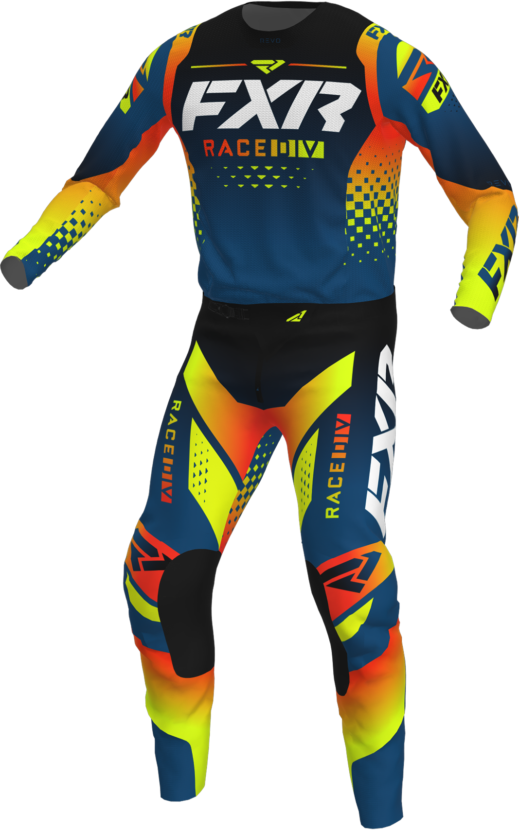 A 3D image of FXR's Revo MX Jersey and Pant 22 in slate inferno colorway