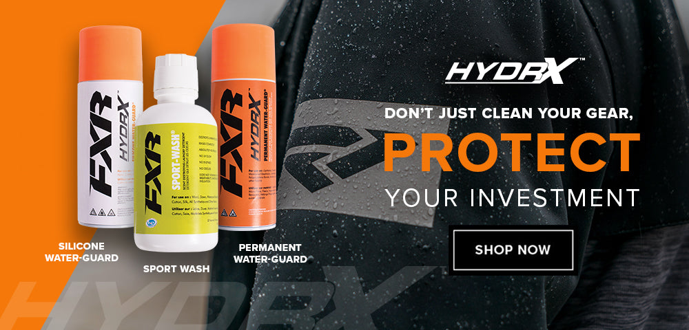 Image of Hydrx Protection products from FXR used to clean and keep your garments waterproof