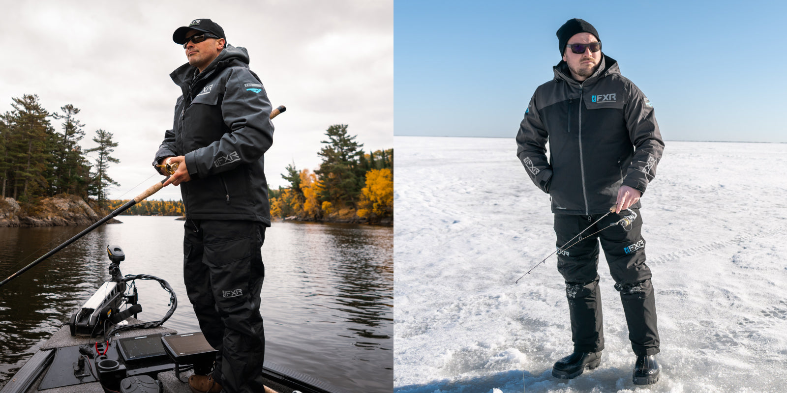 Image split in two.One the right is an image of guy wearing the Vapor Pro Insulated System fishing in spring and on the right fishing during winter.