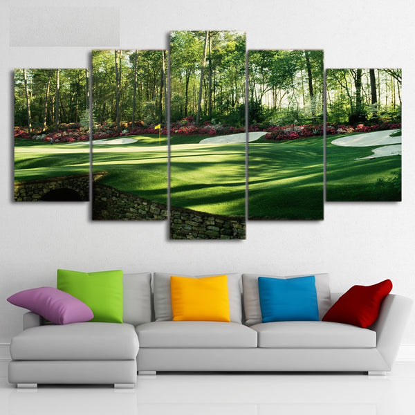 Golf Course Framed 5 Piece Canvas Wall Art Painting Wallpaper Poster Picture Print Photo Decor