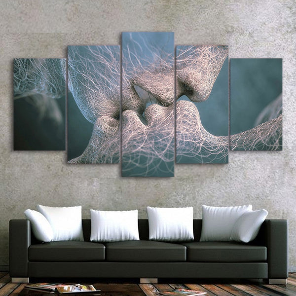 Kissing Couple Partners Relationship Abstract Art Framed 5 Piece Canvas Wall Art Painting Wallpaper Poster Picture Print Photo