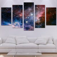 5 Piece Galaxy Outer Space Universe Stars Canvas Wall Art Image Picture Wallpaper Mural Decoration Design Artwork Poster Decor Print Painting Photography