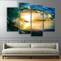 Ocean Wave Sunrise Sunset Surf Seascape Framed 4 Piece Canvas Wall Art Painting Wallpaper Poster Picture Print Photo Decor