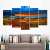 Seaside Ocean Flower Sunset Sunrise Seascape Framed 5 Piece Nature Canvas Wall Art Painting Wallpaper Poster Picture Print Photo Decor
