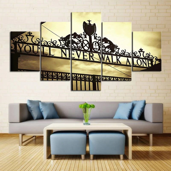 You'll Never Walk Alone Anfield Stadium Liverpool England UK United Kingdom Britain Football Soccer 5 Piece Canvas Wall Art Painting Wallpaper Poster Picture Print Photo Decor