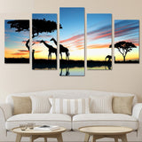 African Animal Safari Framed Nature 5 Piece Canvas Wall Art Picture Decor Painting Print Wallpaper Poster Picture Photo