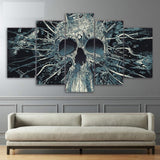 Abstract Skull Skeleton Framed 5 Piece Canvas Wall Art Painting Wallpaper Poster Picture Print Photo Decor