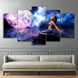 Mermaid Moon & Space Ocean Night Framed 5 Piece Canvas Wall Art Painting Wallpaper Poster Picture Print Photo Decor