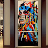 Colorful Native American Indian Girl 3 Piece Canvas Wall Art Picture Decor Painting Print Wallpaper Poster Photo
