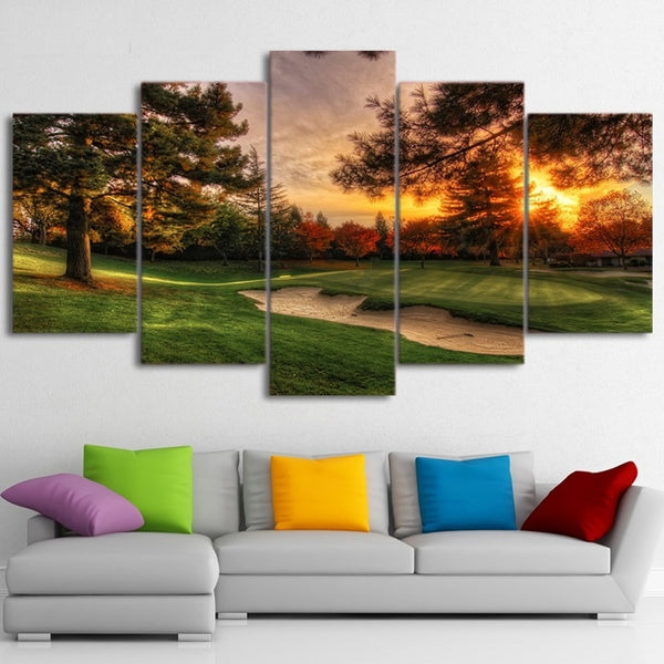 Golf Course Golfing Sports Framed 5 Piece Canvas Wall Art Painting Wallpaper Poster Picture Print Photo Decor