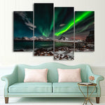 Northern Lights Aurora Borealis 4 Piece Canvas Wall Art Images Pictures Of Wallpaper Mural Design Artwork Poster Decor Print Gift Painting Photo