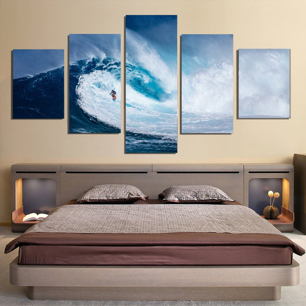 5 Piece Ocean Wave Surfer Canvas Wall Art Image Picture Wallpaper Mural Decoration Design Artwork Poster Decor Print Painting Photography