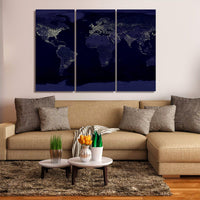World Earth At Night 3 Piece Canvas Wall Art Map Images Pictures Wallpaper Mural Decoration Artwork Poster Photos Decor Print Gifts Painting