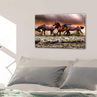 Wild Horses On Ocean Beach Framed Canvas Wall Art Images Pictures Of Horses Wallpaper Photography Paintings Posters Decor Photos Prints Gift