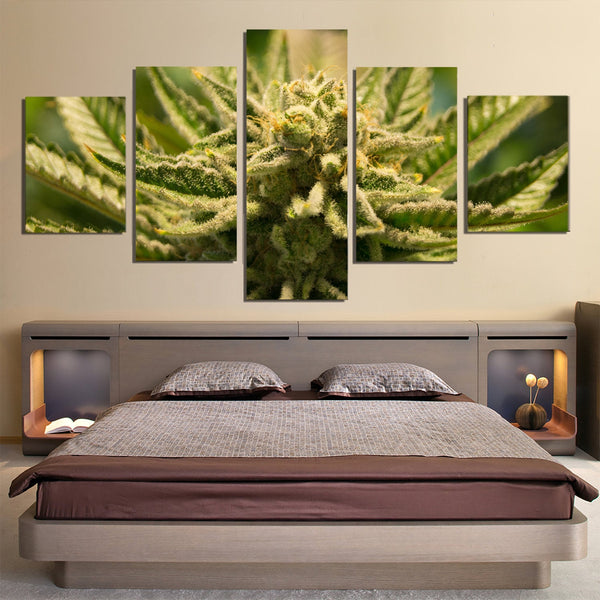 Marijuana Cannabis 420 5 Piece Canvas Wall Art Images Pictures Wallpaper Mural Decoration Design Artwork Poster Decor Prints Paintings Photo