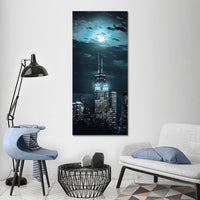 Chicago Night Skyline Full Moon Framed Canvas Wall Art Image Picture Of Chicago Wallpaper Photography Painting Poster Decor Photo Print Gift