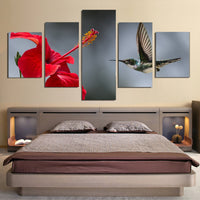 5 Piece Hummingbird Flowers Canvas Wall Art Images Picture Wallpaper Mural Decoration Design Artwork Poster Decor Print Painting Photography