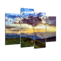 Cloudy Sky Sunset 4 Piece Canvas Wall Art Images Pictures Of Sunsets Wallpaper Mural Design Artwork Poster Decor Prints Gift Painting Photos