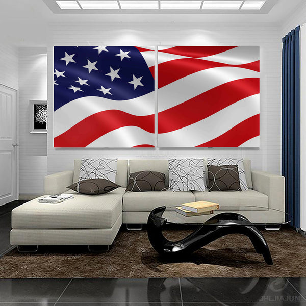 Patriotic USA American Flag 1, 2, 3, 4 & 5 Piece Multi Panel Canvas Wall Art United States Decor Poster Print Artwork Wallpaper Pictures Art