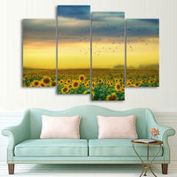 Sunset Sunrise Sunflower Field Birds 1, 2, 3, 4 & 5 Piece Multi Panel Nature Canvas Wall Art Decor Posters Prints Artwork Wallpaper Picture