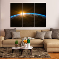 Planet Earth World Sunrise 1, 2, 3, 4 & 5 Piece Space Canvas Wall Art Decor Poster Image Photo Prints Artwork Wallpaper Pictures Multi Panel