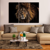 Majestic Male Lion 1, 2, 3, 4 & 5 Piece Animal Canvas Wall Art Decor Poster Photo Print Portrait Image Artwork Wallpaper Picture Multi Panel