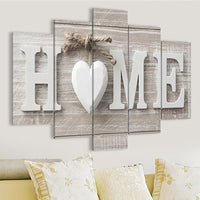 Home Love Heart On Wood Background Framed 5 Piece Canvas Wall Art Image Picture Wallpaper Mural Artwork Poster Decor Print Painting Photography
