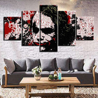 Heath Ledger Joker Batman Abstract Framed 5 Piece Movie Canvas Wall Art Painting Wallpaper Poster Picture Print Photo Decor