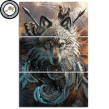 Wolf Warrior by Sunima MysteryArt Framed 3 Piece Animal Canvas Wall Art Painting Wallpaper Decor Poster Picture Print