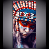 Native American Indian Girl Framed 3 Piece Canvas Wall Art Painting Wallpaper Poster Picture Print Photo Decor
