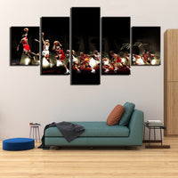 Michael Jordan Basketball Sports Framed 5 Piece Canvas Wall Art Painting Wallpaper Poster Picture Print