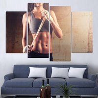Fitness Girl Exercise Workout Gym Woman Framed 4 Piece Canvas Wall Art Painting Wallpaper Decor Poster Picture Print