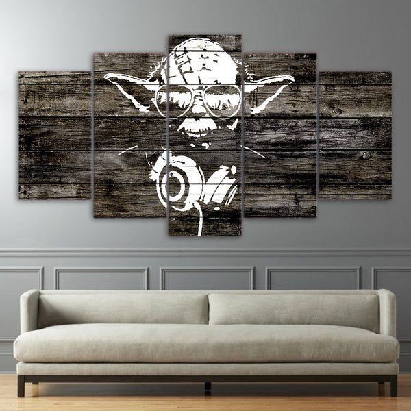 Yoda Star Wars Abstract Art Framed 5 Piece Canvas Wall Art Image Picture Wallpaper Mural Decoration Design Artwork Poster Decor Print Painting Photography