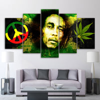 Bob Marley Peace Ganja Weed Marijuana 5 Piece Canvas Wall Art Image Picture Wallpaper Mural Decoration Design Artwork Poster Decor Print Painting Photography