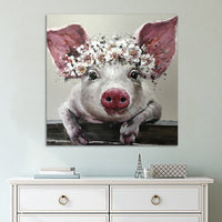 Cute Pig With Flowers Framed 1 Piece Canvas Wall Art Painting Wallpaper Poster Picture Print Photo Decor