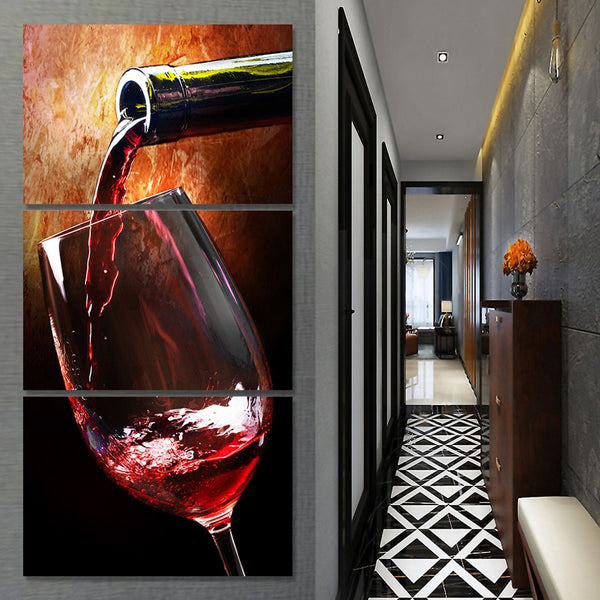 Wine Glass Vino Alcohol Drinks Bar Framed 3 Piece Canvas Wall Art Painting Wallpaper Poster Picture Print Photo Decor