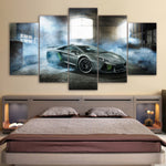 Smoking Lamborghini Racing Framed Sports Car 5 Piece Canvas Wall Art Painting Wallpaper Poster Picture Print Photo Decor