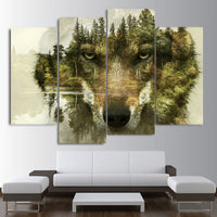 Wolf Face Nature Forest Trees Framed 4 Piece Canvas Wall Art Painting Wallpaper Decor Poster Picture Print