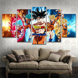 Anime Dragon Ball Z Goku Cartoon Framed 5 Piece Canvas Wall Art Painting Wallpaper Poster Picture Print Photo Decor