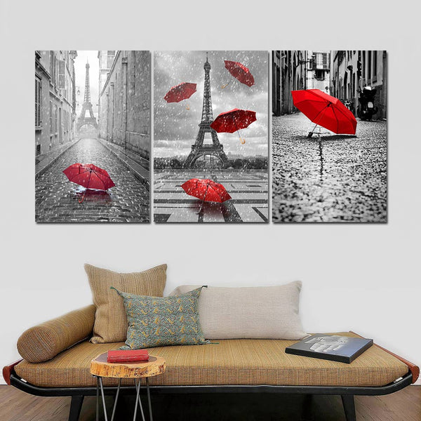 Black & White Red Umbrella Romantic Paris France Eiffel Tower Framed 3 Piece Canvas Wall Art Painting Wallpaper Poster Picture Print Photo Decor