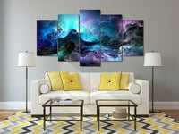 Colorful Storm Clouds Framed 5 Piece Abstract Canvas Wall Art Image Picture Wallpaper Mural Artwork Poster Decor Print Painting Photography