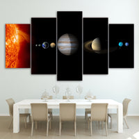 Solar System Sun & Planets Space Astronomy Framed 5 Piece Canvas Wall Art Painting Wallpaper Poster Picture Print Photo Decor