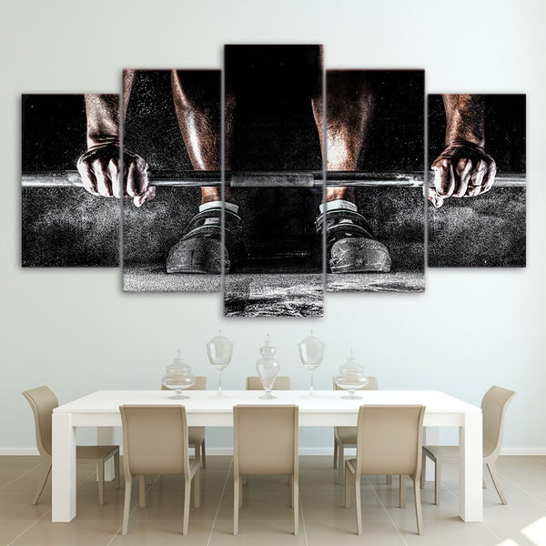 Fitness Gym Workout Weighlifting Exercise Room Framed 5 Piece Canvas Wall Art Painting Wallpaper Decor Poster Picture Print