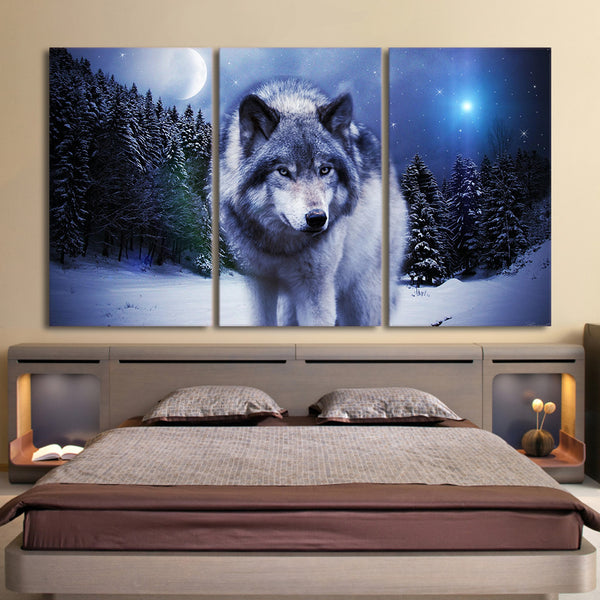 Snowy Mountain Forest Wolf Moon Night Framed 3 Piece Canvas Wall Art Print Photo Decor Painting Wallpaper Poster Picture