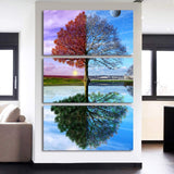 4 Seasons Nature Changing Tree Framed 3 Piece Canvas Wall Art Painting Wallpaper Poster Picture Print Photo Decor