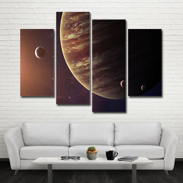 Planet Jupiter & Moons Framed 4 Piece Space Canvas Wall Art Painting Wallpaper Decor Poster Picture Print