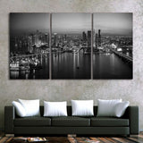 Miami Florida USA Cityscape Skyline Framed 3 Piece Canvas Wall Art Painting United States Of America Wallpaper Poster Picture Print Photo Decor