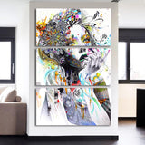 Colorful Abstract Flower Lady Framed 3 Piece Canvas Wall Art Painting Wallpaper Decor Poster Picture Print