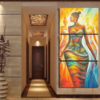 Colorful African Woman Framed 3 Piece Abstract Canvas Wall Art Image Picture Wallpaper Mural Decoration Poster Decor Print Painting Photo