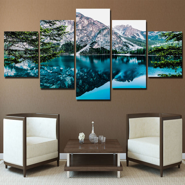 Beautiful Mountain Forest Trees Lake Framed 5 Piece Nature Canvas Wall Art Painting Wallpaper Decor Poster Picture Print
